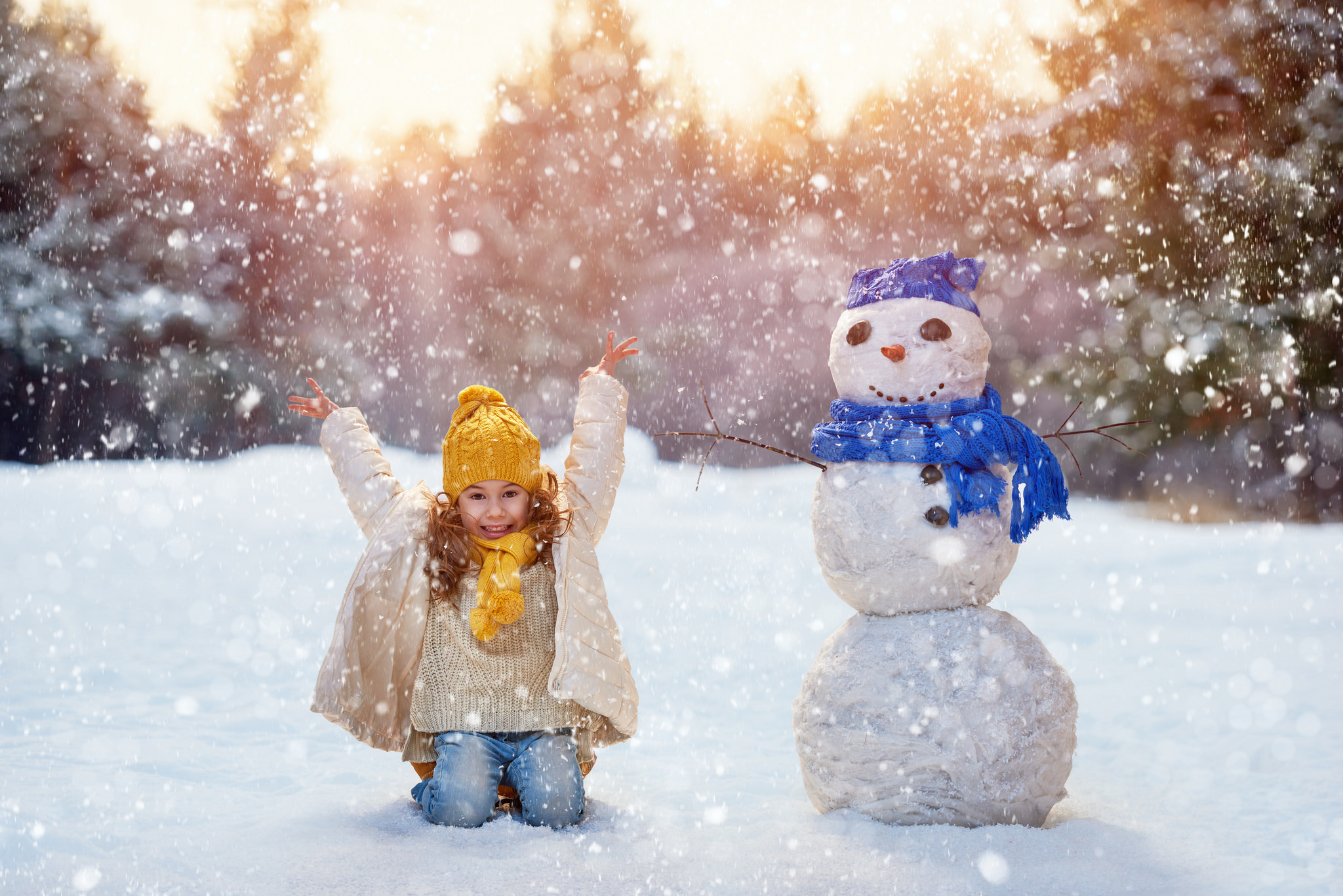 Girl Playing With Snowman | Festivities Abound: The Best Holiday Events near Falls Church | West Broad