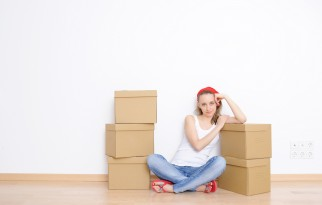 woman and moving boxes